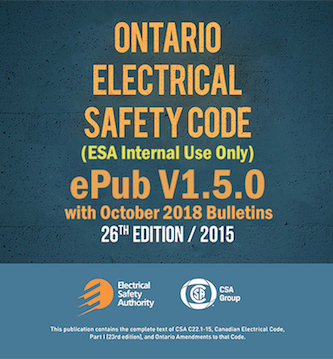 ESA Internal Ontario Electrical Safety Code v1.5.0 with 2018 October Bulletins